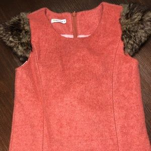 Wool and fur fitted dress